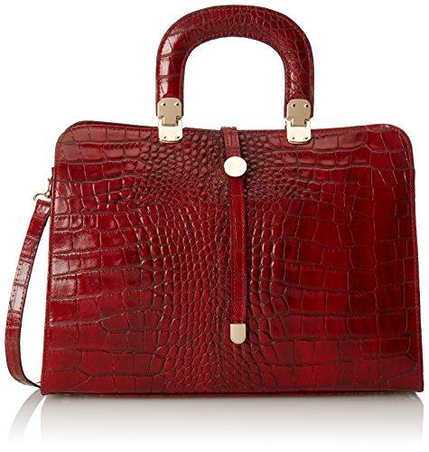 37x26x14cm Bolsas Bolso Con Ctm 100 In De Clásico Para Cuero Genuino rosso Mujeres Italy Rojo Del Mano Made Estampado Cocodrilo Pw8qd8In