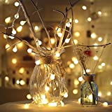 GreenClick 40 LED Long Globe String Lights Warm White Battery Powered Fairy Lights 14 feet/ 4 meters for Home Wedding Garden Patio Yard Home Chrismas Party