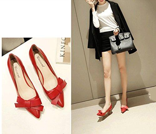 de alto sandalias Zapatos cómodas de de mujer Rojo baja 34 Sexy Boca Color puntiagudo Bowknot la de boda Zapatos elegantes tacón moda Verano Tamaño zapatos wz8Aqt4