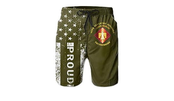 HANINPZ Proud Aemy Green US Army Retired Chief Warrant Officer Emblem CW4 Mens Swim Trunks Beach Short Board Shorts