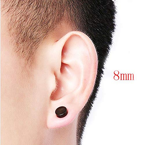 724c9a367 ... 8PCS Asoorted Size 6-12MM Stainless Steel Magnetic Fake Gaues Earring  Studs for Non Pierced ...