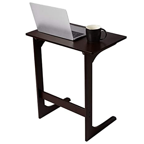 LANGRIA Sofa Side Table Bamboo Wood Snack Table Coffee End Table Bed Side Table Laptop Desk TV Tray For Eating Reading Living Room