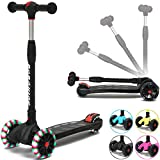 BOBOKING Kick Scooter for Kids, 3 Widening PU Flashing Wheels, Adjustable Height Kids Scooter with a Folding System, Best Gifts for Kids from 3 to 17 Year-Old, Surface Balance Technology (Black)