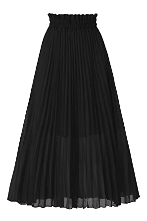 Musever Women's Chiffon Pleated A Line High Waist Swing Flare Midi Skirt by Musever