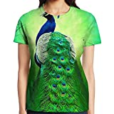 Women Green Peacock Feather Crewneck Tshirts Short Sleeve Basic Patterned Tshirt