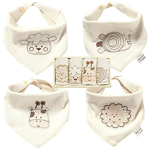 Bandana Bibs for Boys and Girls - Best for Drooling and Teething - 100% Natural Colored Organic Cotton Drool Bibs - 4 Packs, Perfect Baby Gift Set