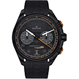 Edox Men's Chronorally-S 43mm Black Nylon Band Steel Case Sapphire Crystal Quartz Watch 09503 37NNONAN NNO