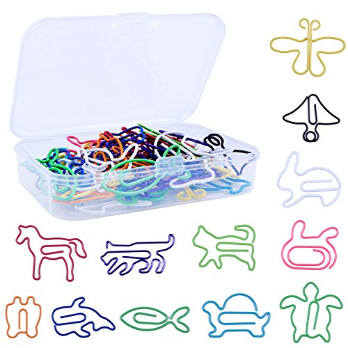 60pcs Multicolor Paper Clips Animal Shape Bookmarks for School Office Agenda Pad Notebook,12 Stlyes