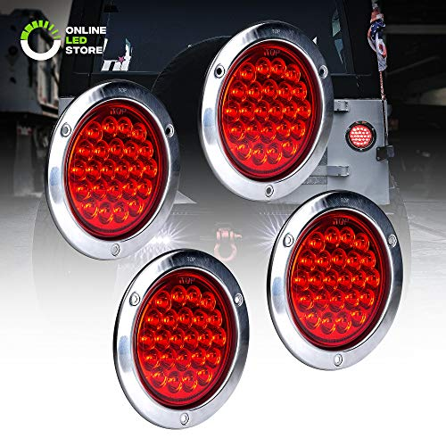 """4pc 4"""" Inch Round LED Trailer Tail Lights [DOT Certified] [Stainless Steel Chrome Bezel] [Connector Plug Included] Stop Brake Lights for Trucks RV Jeep"""