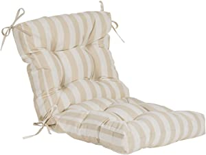 QILLOWAY Outdoor Seat/Back Chair Cushion Tufted Pillow , Spring/Summer Seasonal All Weather Replacement Cushions. (Khaki&White Stripe)