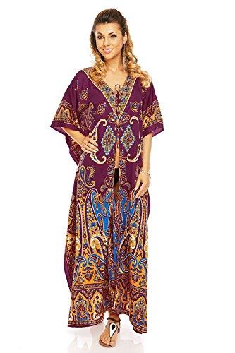 caftano Rosso da MAXI sera tunica Glam Oversize Looking lungo kimono abito donna 30378 Abito 40x6q7