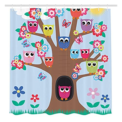 Cute owl decor amazon owl decor ambesonne cute owls on tree bff best friends forever home accent design for friendship decor for teens and girls bathroom polyester fabric shower voltagebd Image collections