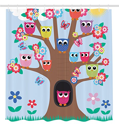 Owl Decor Ambesonne Cute Owls on Tree BFF Best Friends Forever Home Accent Design for Friendship Decor for Teens and Girls Bathroom Polyester Fabric Shower Curtain Brown Green Blue Yellow Multicolor