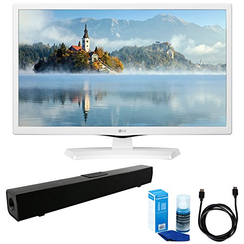 LG 24LJ4540-WU 24-Inch HD LED TV - White (2017 Model) w/ Sound Bar Bundle Includes, Solo X3 Bluetooth Home Theater Sound Bar, 6ft High Speed HDMI Cable and LED TV Screen Cleaner