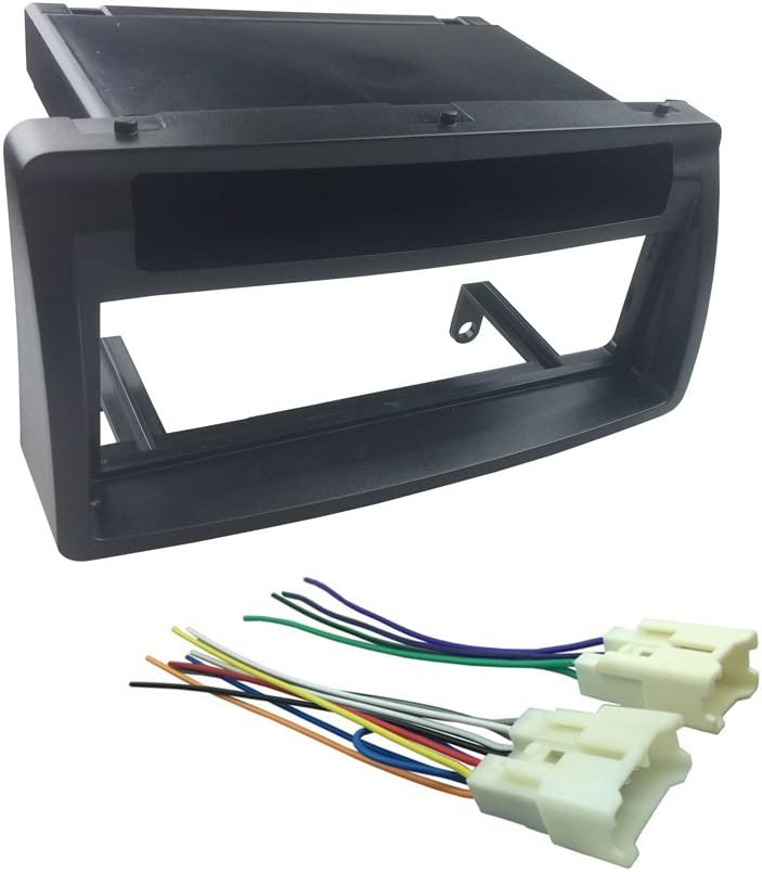 1-Din Wiring Harness DKMUS Dash Kit for 2003-2008 Toyota Corolla Din Installation Trim Fascia Bezel w