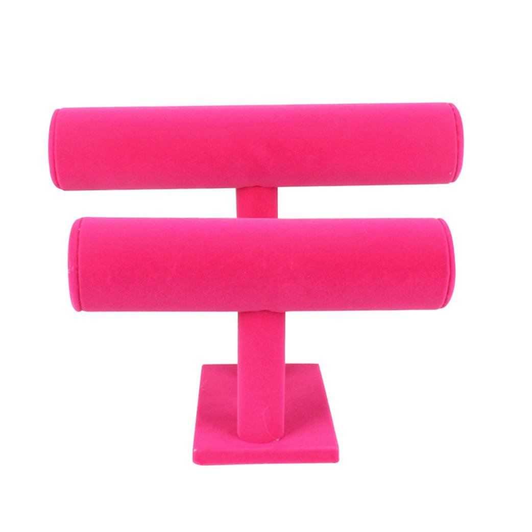 Voberry 2 Tiers T-Bar Velvet Bangle Bracelet Watch Holder Jewelry Display Stand (Hot Pink)