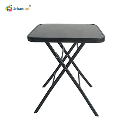 Folding Round Table Top.Urbancart Tempered Glass Table Top Folding Round Patio Table With Cross Metal Legs For Outdoor Garden Picnic Home White Square Black