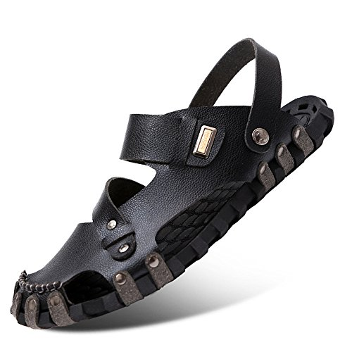Casual Beach Shoes Leather Men's Head QXH Round Sandals Black Breathable q8Uxw
