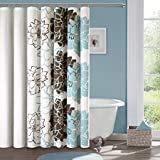 Blue and Brown Curtains BMALL Lola Cotton Shower Curtain, Blue/Brown Shower Rings Included 72X84 inches
