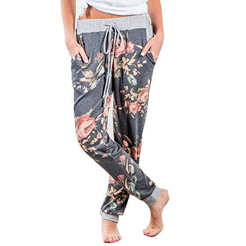 Finelook Womens Fashion Floral Casual Loose Sports Harem Pant Jogger Dance Hiphop Slacks Trousers (L, Grey)
