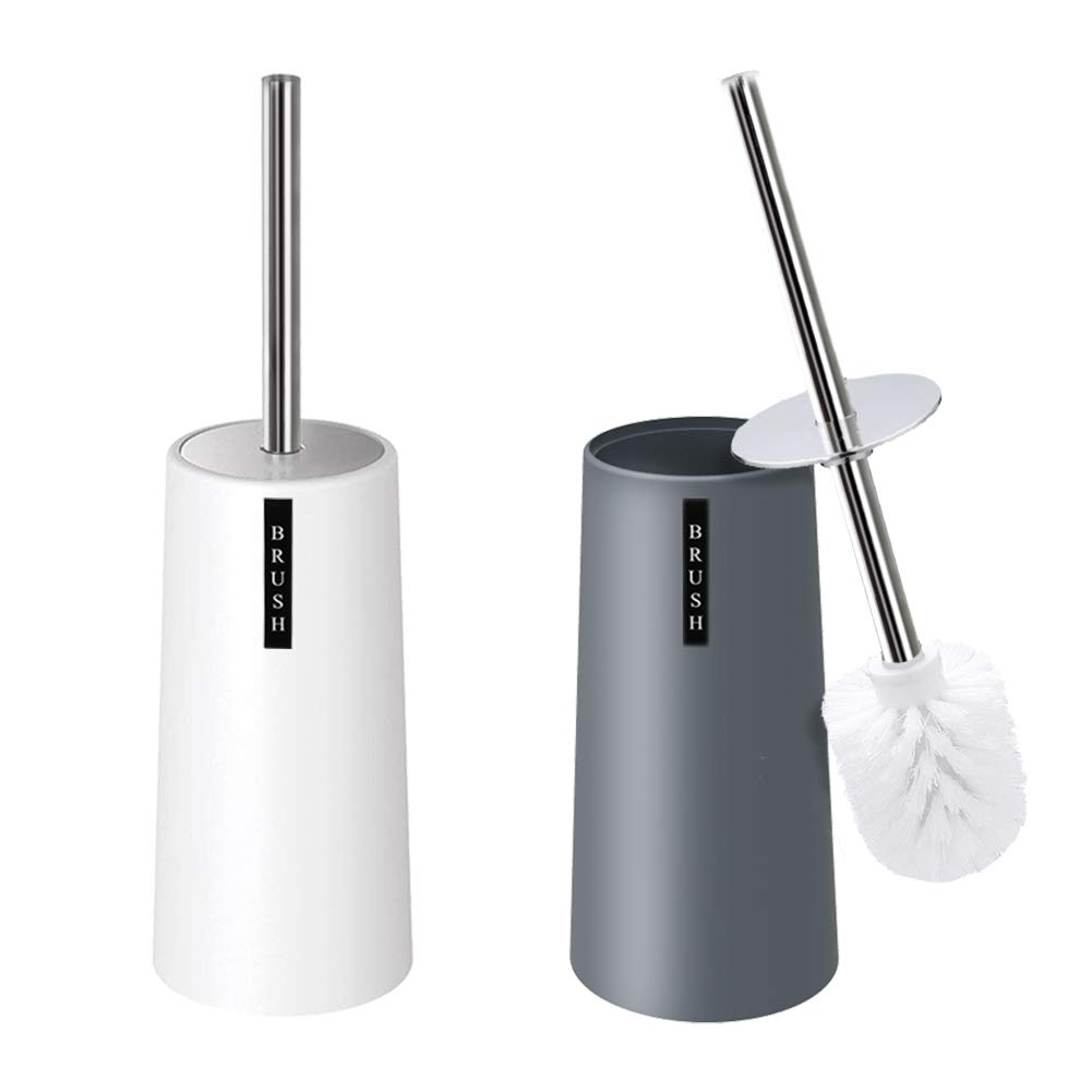 Kelamayi Toilet Brush and Holder-[2 Pack], Simple Solid Color Toliet Brush Holder with Upgraded Length Stainless Steel Toilet Brush Handle, Suitable for The Modern Home Décor-[Gray & White] by Kelamayi