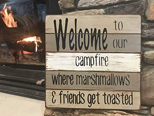 Places Coral Springs (Welcome Wooden Sign - Welcome to our Campfire. Where marshmallows & friends get toasted - Reclaimed Pallet Wood Style Wall Sign for Porch, Cabin, Camper, Lake Home, Fireplace - Gray, Blue, Red)