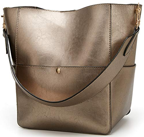 Molodo Women's Satchel Hobo Top Handle Tote Shoulder Purse Soft Leather Crossbody Designer Handbag Big Capacity Bucket Bags (Tan)