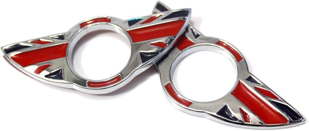 2 Stück Wing Emblem Ringe Türschloss Pin Knöpfe Abdeckungen Aufkleber Abzeichen Verkleidungen Für Mini Cooper R60 Countryman R61 Paceman Union Jack Red Auto