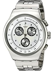 Swatch Mens YOS401G Chrono Wealthy Star Silver Dial Watch