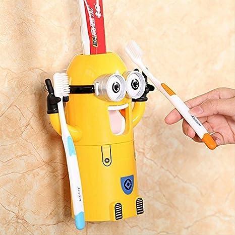 Romote Netter Minions Design Set Cartoon Kleine gelbe Menschen Zahnb/ürstenhalter automatische Zahnpasta Kinder Frauen Eltern Badezimmer