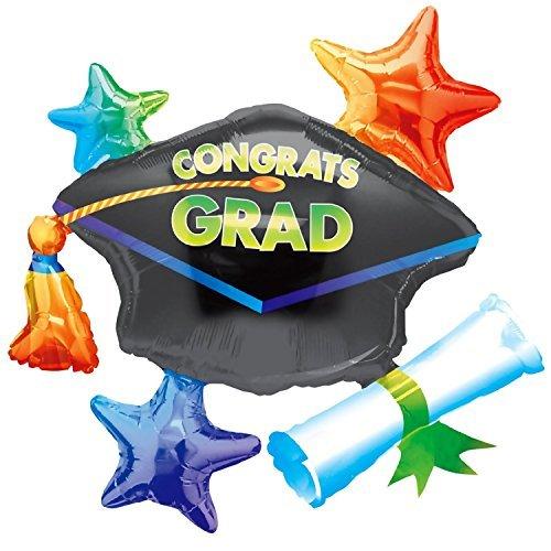 Congrats Grad Star Cluster 31in x 29in Balloon