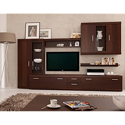 Imperial Entertainment Center   Modern Wall Units / Capacity Storage  Entertainment Center / Living Room Design Furniture (Oak Brown)