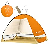 G4Free Outdoor Automatic Pop up Instant Portable Cabana Beach Tent 2-3 Person Camping Fishing Hiking Picnicing Anti UV Beach Tent Beach Shelter, Sets up in Seconds(Orange)