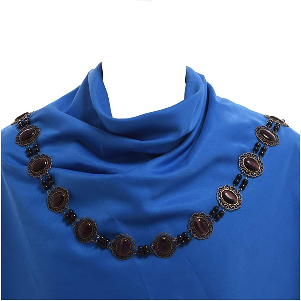 GRACEART Tudor Chain of Office Livery Collar Necklace (Dark Purple Cabochons)