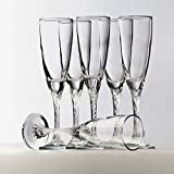 Pasabahce Crystal Cut Beautiful Champagne Flute Glass Set of 6 Pcs | 205 Ml | With Gift Box Packing |