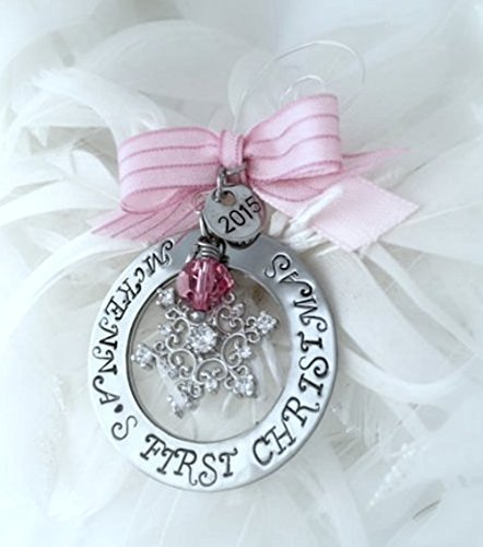 - Personalized Baby's First Christmas Ornament 2019 Hand Stamped Snowflake Ornament with Crystal Snowflake and bow Unisex