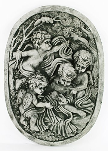 Cherubs in The Garden Concrete Wall Plaque 11.5 inches H x 8.5 inches W