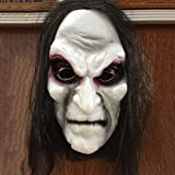 Gemini_mall® 3D Black Long Hair Scary Blooding Ghost Mask Halloween Costumes Cosplay Party Prop (Ghost Mask)