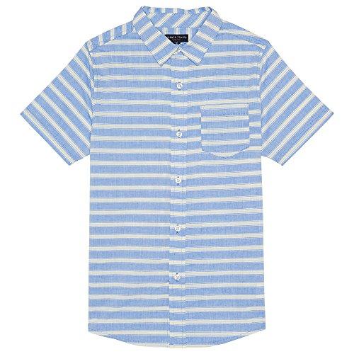 French Toast Little Boys' Short Sleeve Woven Shirt, Blue Stripe, 7 (Woven Stripe Dye Shirt Yarn)