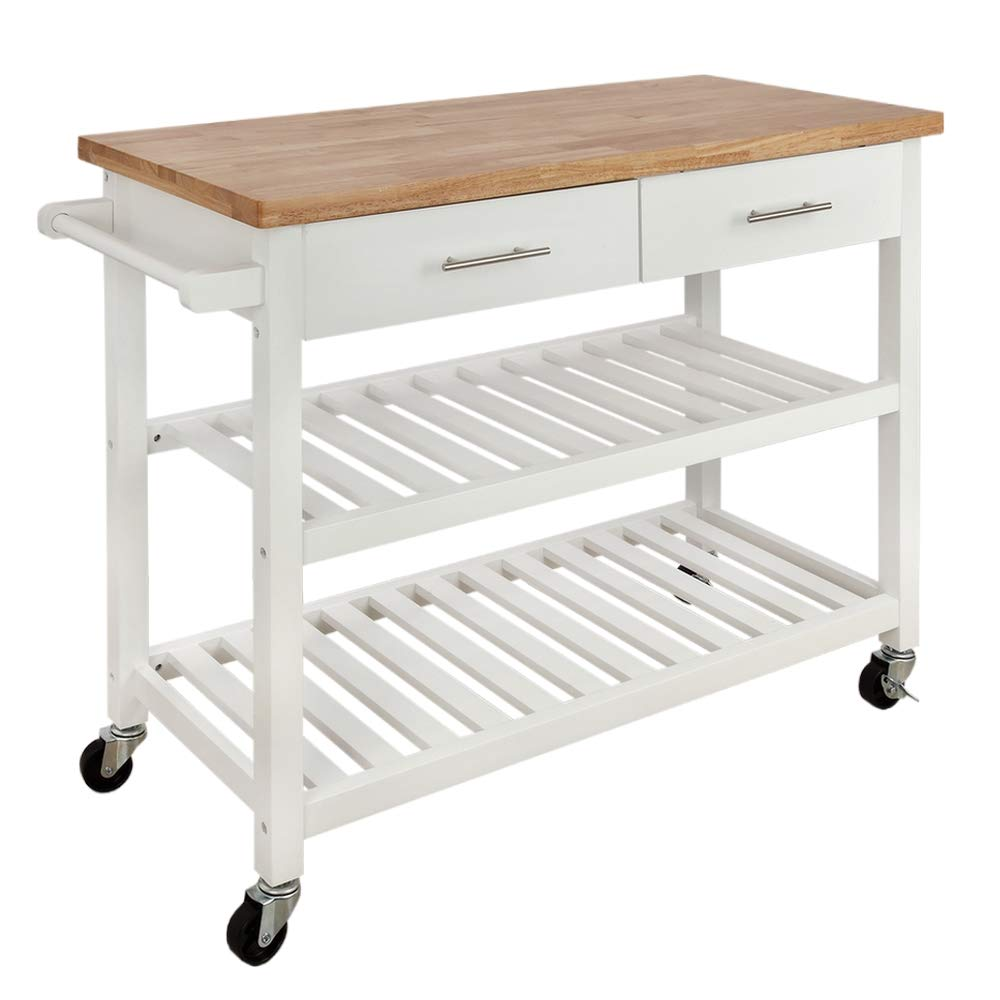 Homegear Open Storage V3 Kitchen Cart with Shelves - Island on Wheels White
