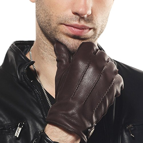 ELMA Men's Deerskin Leather Winter Driving Cashmere Lined Gloves (S, Brown)
