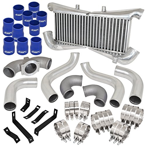 For 300ZX Z32 VG300DETT Bolt On Silver Intercooler + Piping Kit Blue Couplers (300zx Intercooler)
