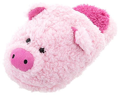 (Women's Fuzzy Pink Pig Slippers S/5-6)
