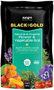 SunGro Black Gold Outdoor Natural and Organic Garden Flower and Vegetables Blend Potting Soil Mix for Outdoor Plants, 1.5 Cubic Foot Bag