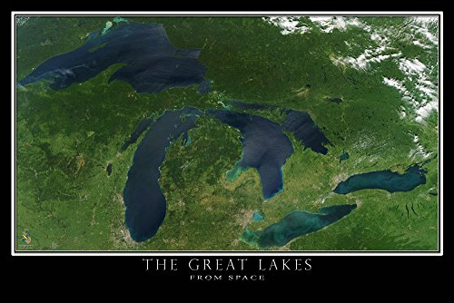 The Great Lakes Satellite Poster Map L 24 x 36 inch