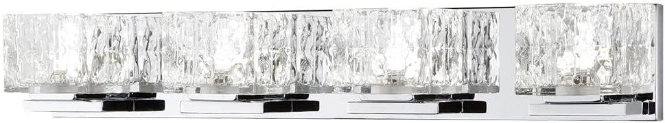 Home Decorators Collection 24-Watt Chrome Integrated LED Bathroom Vanity Light with Clear Cube Glass