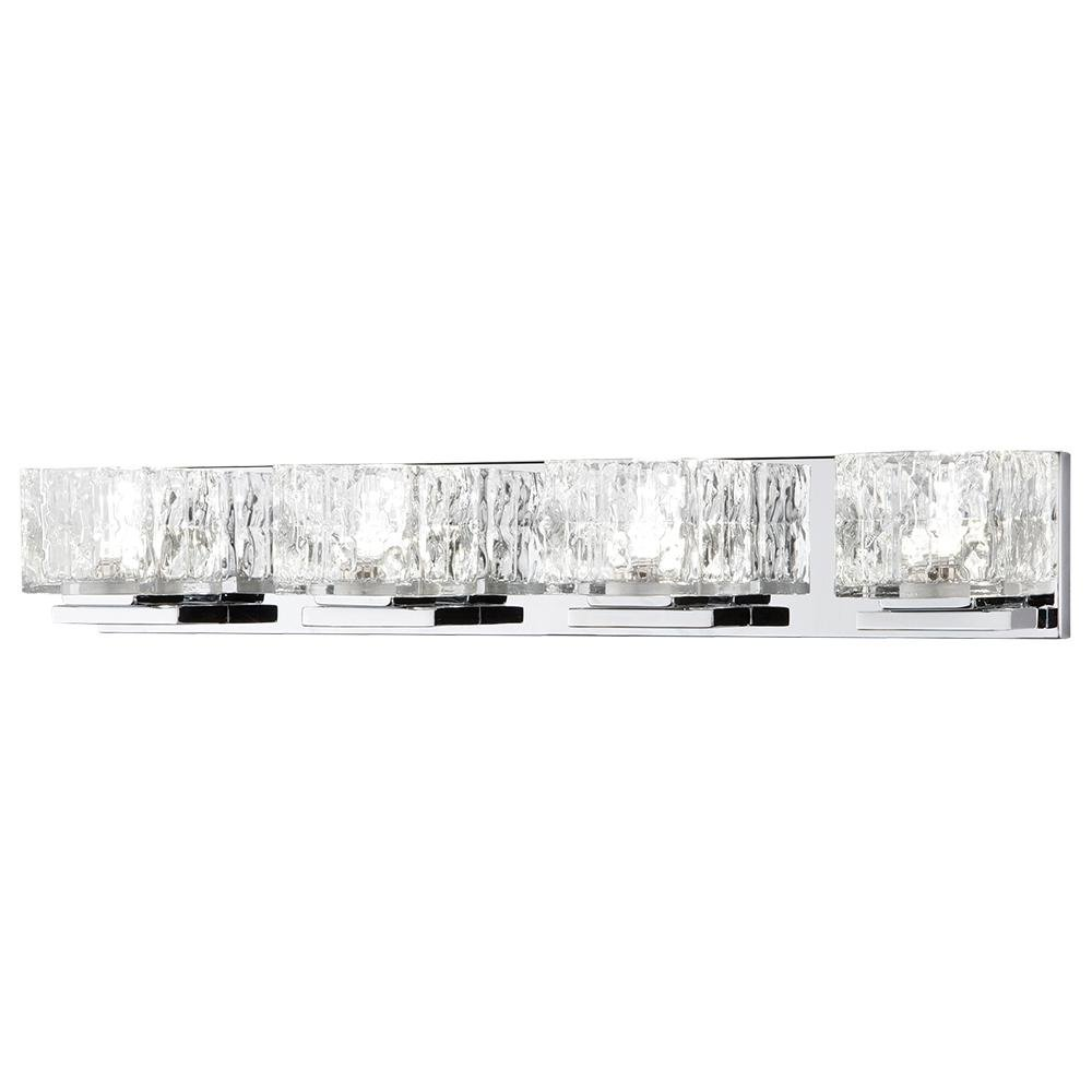 Home Decorators Collection 24-Watt Chrome Integrated LED Bathroom Vanity Light with Clear Cube Glass by Home Decorators Collection