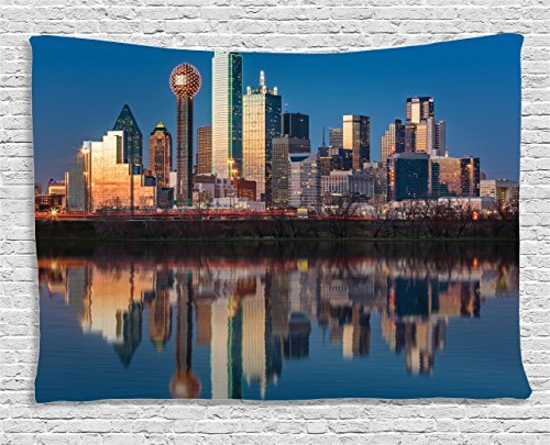 Apartment Tapestry Wall Hanging, Dallas Skyline Reflected in Trinity River at Sunset High-Rise Business Center Wall Art Tapestries for Home Bedroom Living Room Dorm Decor, 60WX80L Inches ()