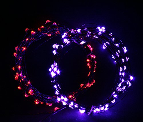 Halloween Edition - 1 Orange and 1 Purple Combo Pack USB. Ultra Bright String Lights Includes 1 Color Set each of 33 ft Firefly Fairy Lights. Cincy Illumination