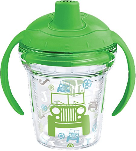 Tervis 1269537 J is for Jeep Brand Pattern Sippy Tumbler with Wrap and Rainforest Green Lid 6oz My First Tervis Sippy Cup, Clear (Off Road Trainers)